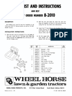 WheelHorse Factory arm rest accesory parts list and manual 8-2010