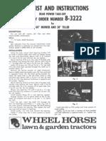 WheelHorse rear Power take off manual 8-3222