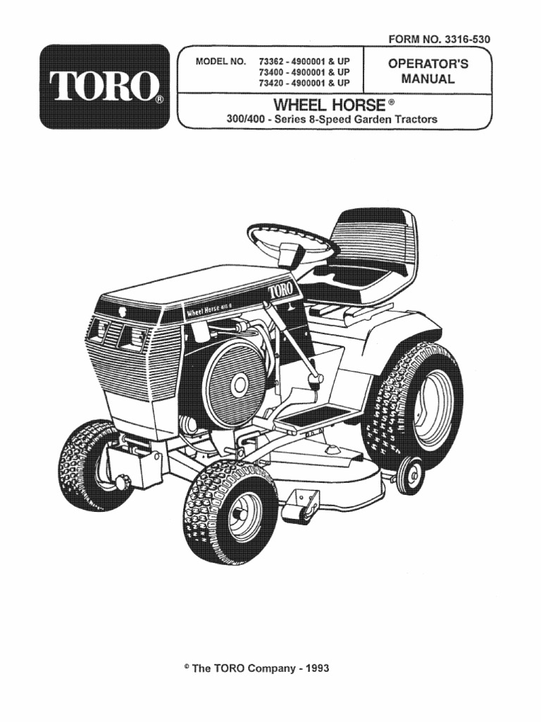 1993 WheelHorse 312, 314, 416 owners manual for models 73362