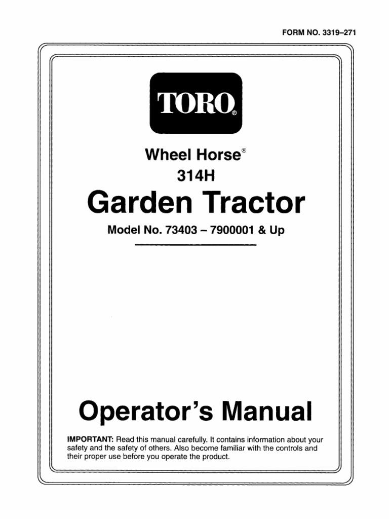Toro | parts – 314-8 garden tractor.