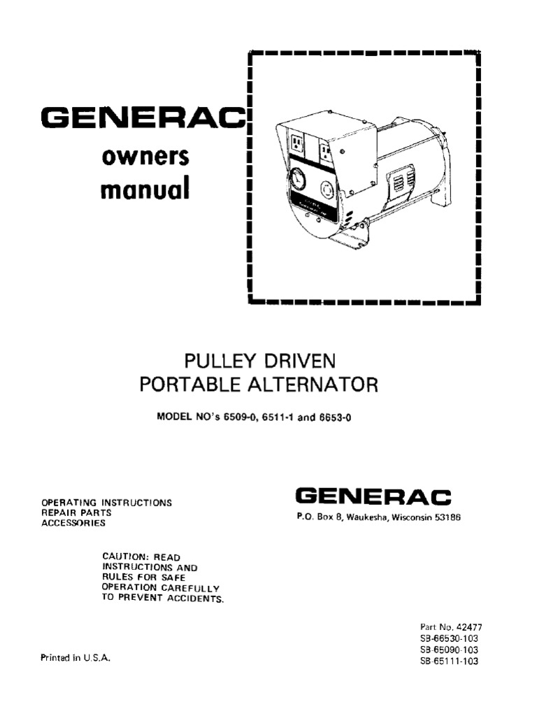 Wheel Horse Pulley driven Generac portable generator owners manual | Belt  (Mechanical) | Manufactured Goods