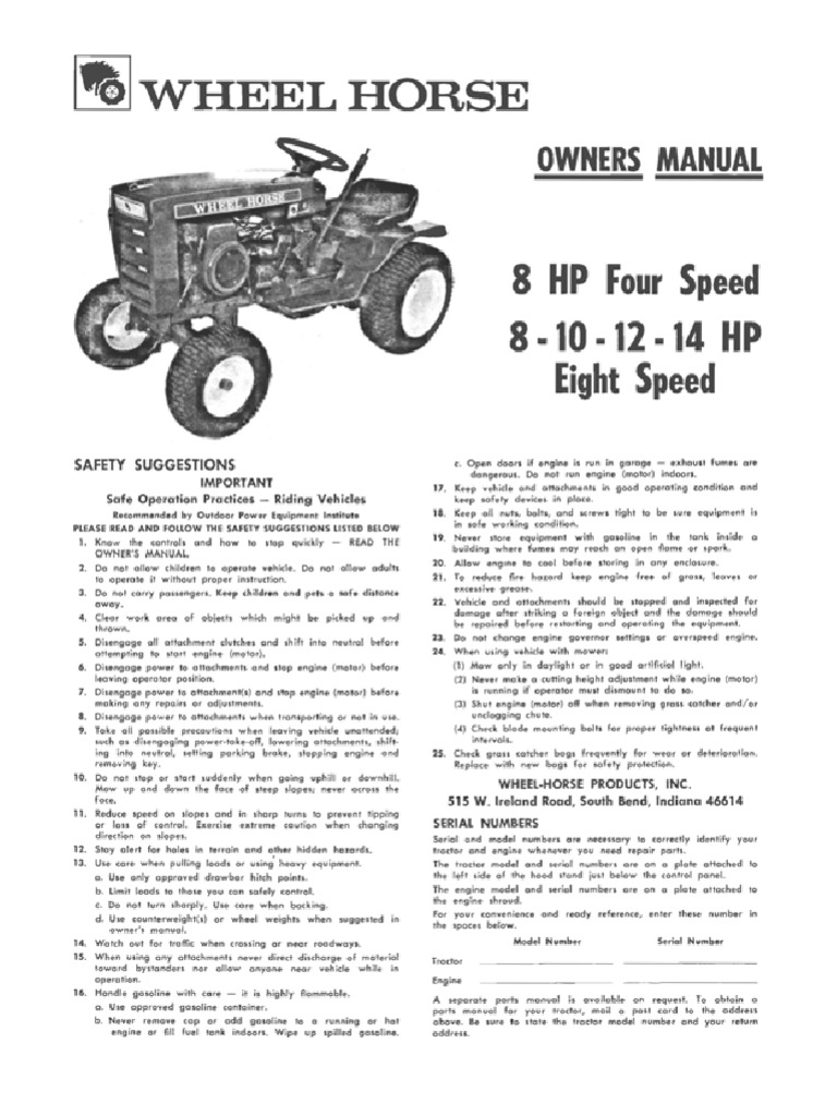 wheelhorse 1973 8 10 12 14 8 speed owners manual clutch rh scribd com Wheel Horse HH100 Wheel Horse by Years