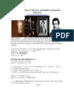 Fourier solution of Mercury's perihelion