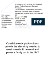 Could Domestic Photovoltaics Provide the Electricity Needed to Meet Household Demand and Power a Family Car in the UK