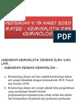 KRIMINALISTIK PERTEMUAN 3,4