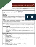 8 - Metodologia do Trabalho Científico e Orientação de TCC - PLANO de ENSINO Metodologia Da Pesquisa