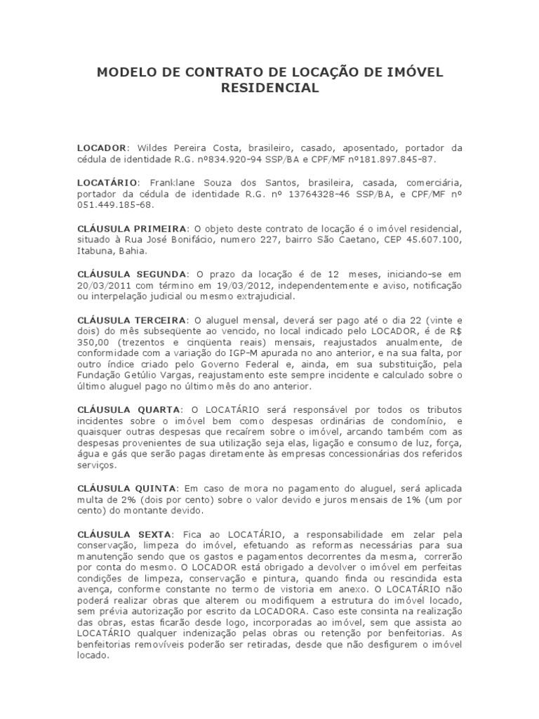 Contrato Particular De Locaçao De Imovel Trabalhos