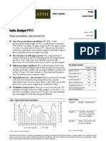 India Budget FY11 - Fiscal consolidation, slow stimulus exit