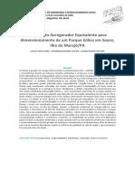 Método do Aerogerador Equivalente para dimensionamento de um Parque Eólico em Soure, Ilha do MarajóPA