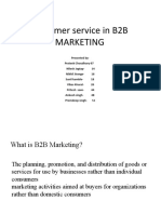 Customer service in B2B MARKETING