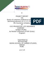 project of I.C.I.C.I Prudential life