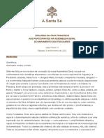 DISCURSO DO PAPA FRANCISCO AOS PARTICIPANTES NA ASSEMBLEIA GERAL DO MOVIMENTO DOS FOCOLARES