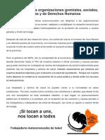Carta abierta a las organizaciones gremiales, sociales, políticas y de Derechos Humanos