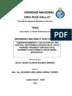 Dimensionamiento y selección de una central geotérmica basada en el ciclo rankine orgánico ubicada en el Yacimiento Geotérmico Jesús María - Moquegua