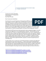 Public Advocate de Blasio Letter to Department of Transportation on 34th Street Proposal