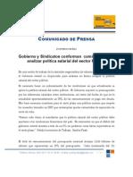 Gobierno y Sindicatos conforman  comisiones para analizar política salarial del sector Público Feb 25, 2011