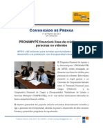 PRONAMYPE  financiará línea de crédito para personas no videntes Feb. 17, 2011