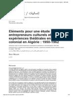 Eléments pour une étude des entrepreneurs culturels et des expériences théâtrales en régime colonial en Algérie_ 1950-1962