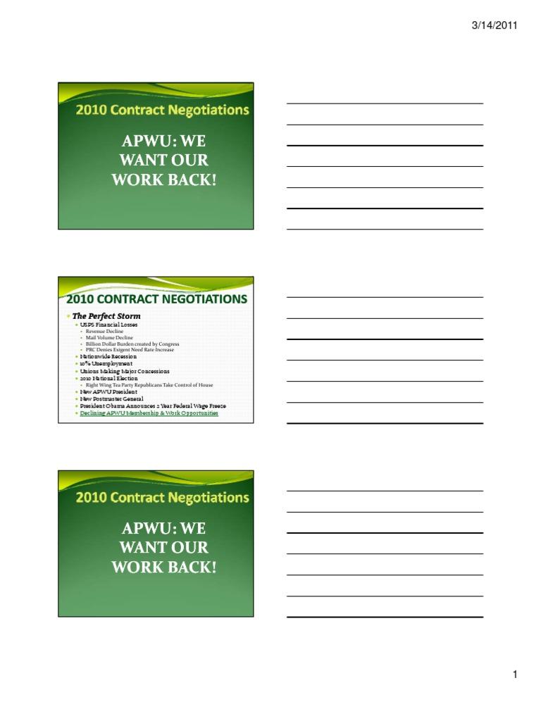 Apwu Contract Presentation Overtime United States Postal Service