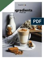 Ingredients Price List April 2021