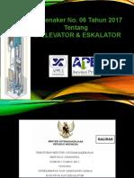 pembinaan dan pengawasan norma K3 ELEVATOR Permen 6 Tahun 2017