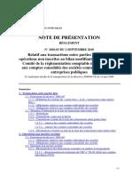 Regl2010-03_Note de presentation - Parties liées