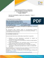Guía de Actividades y Rúbrica de Evaluación – Tarea 1- Presaberes