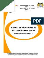 Manuel de Procedures de Gestion Des Ressources Du Centre de Sante