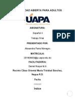 TRABAJO FINAL ESPAÑOL II ALEXANDRA PARRA MONEGRO 2020