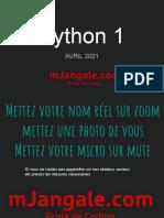 Python 1 - Orientation - Avril 2021