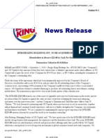 BURGER KING HOLDINGS, INC. TO BE ACQUIRED BY 3G CAPITAL