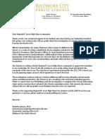 Letter to Reginald F. Lewis High School community
