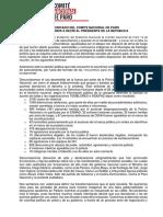 Criterios Del Comité Del Paro Para Negociar