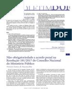 Nao-obrigatoriedade e Acordo Penal Na Re