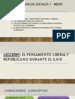 CLASE 1 - 1°ero Pensamiento liberal y republicano en el S XIX