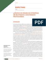 DESAFIOS DO ENSINO DE ESTRATÉGIA EM MESTRADOS E DOUTORADOS PROFISSIONAIS