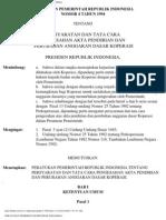 PP No. 04 Tahun 1994 Persyaratan Dan Tata Cara Pengesahan Akta Pendirian Dan Perubahan Anggaran Dasar Koperasi