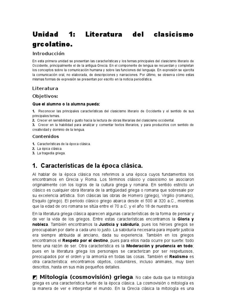 Unidad 1 literatura del clasicismo grecolatino - Epoca del clasicismo ...