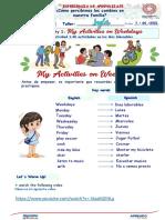 Semana 5-Dia 5-Ingles 1-My Activities on Weekdays
