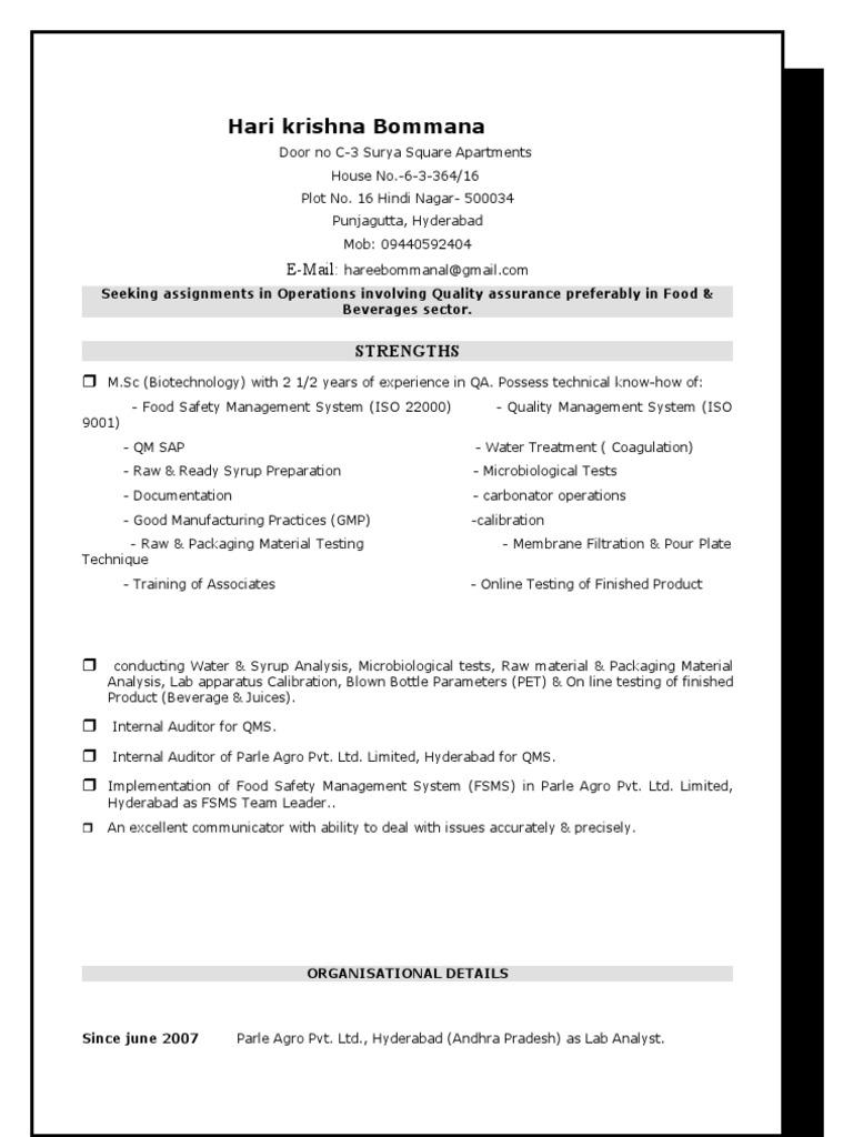 Resume | Quality Assurance | Audit