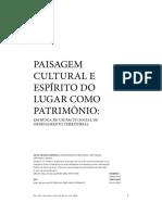 PAISAGEM CULTURAL E ESPÍRITO DO LUGAR COMO PATRIMÔNIO