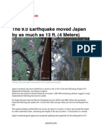 The 9.0 Earthquake Moved Japan by as Much as 13 Ft. (4 Meters)