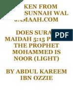 Does surah Maidah 5.15 prove the prophet Mohammed is noor (light)