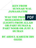 Was the Prophet Mohammed Noor (light)