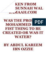 Was the Prophet Mohammed the Fist Thing to Be Created Or Was It Water