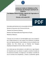 Discours de Madame Le Ministre Atelier de Kirundo