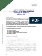 Convocatoria Programa de Apertura de Centros Escolares en Periodos No Lectivos Verano 2021