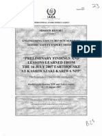 """""""Preliminary findings and lessons learned from the 16 july 2007 earthquake at Kashiwazaki-Kariwa NPP"""", IAEA"""