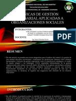 TÉCNICAS DE GESTIÓN EMPRESARIAL APLICADAS A ORGANIZACIONES SOCIALES