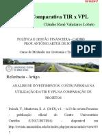 Aula 2 - Análise TIR x VPL  19-10-17
